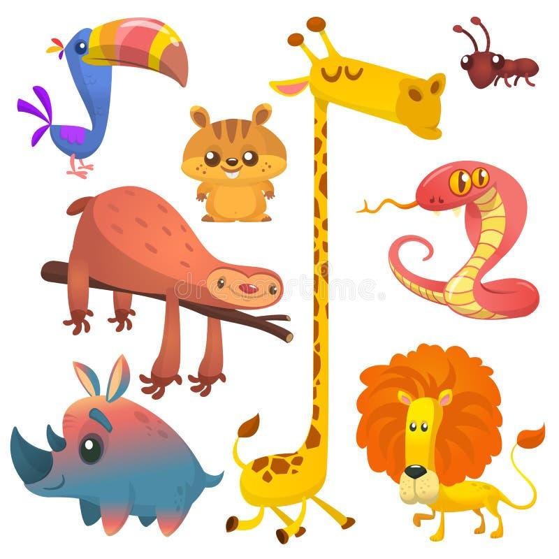 Animales africanos de la selva de la historieta Vector los ejemplos del tucán, de la pereza, de la jirafa, de la ardilla listada, libre illustration