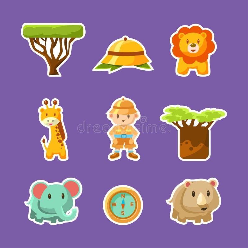 Animales africanos, plantas, muchacho en Safari Outfit Cute Stickers, Safari Symbols Vector Illustration stock de ilustración