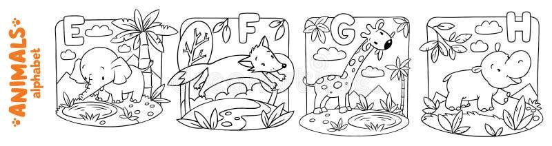 Animales alfabeto o ABC Sistema del libro de colorear ilustración del vector