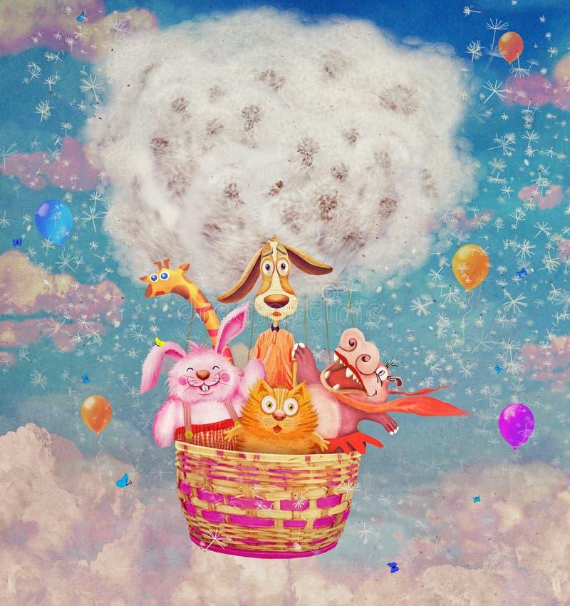 Animales amistosos divertidos en un balón de aire en el cielo libre illustration