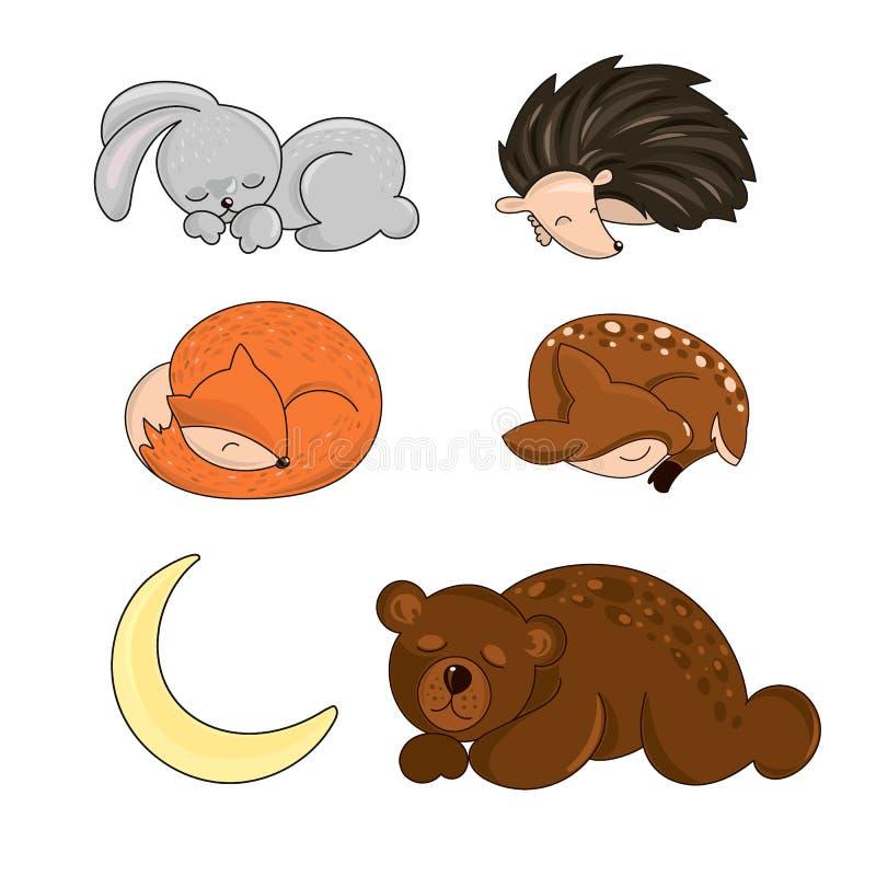 ANIMALES Autumn Vector Illustration del BOSQUE el DORMIR stock de ilustración