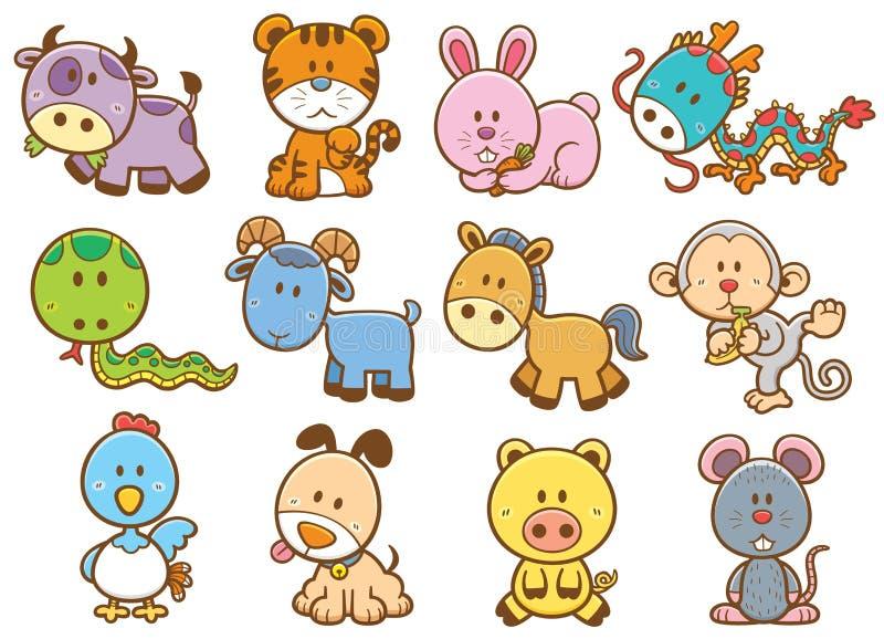 Animales chinos del zodiaco stock de ilustración
