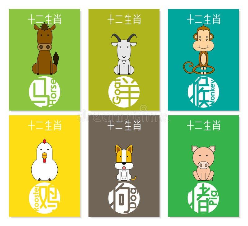 12 animales chinos del zodiaco fijaron B, traducción china de la fraseología: caballo, cabra, mono, gallo, perro, cerdo libre illustration
