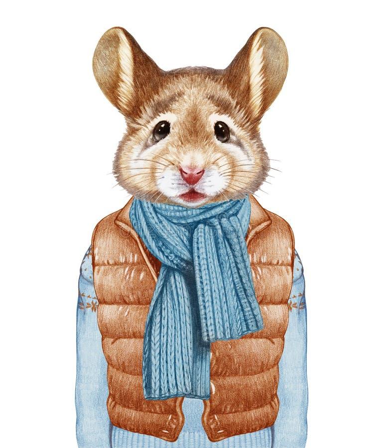 Animales como ser humano El ratón en abajo concede, suéter y bufanda libre illustration