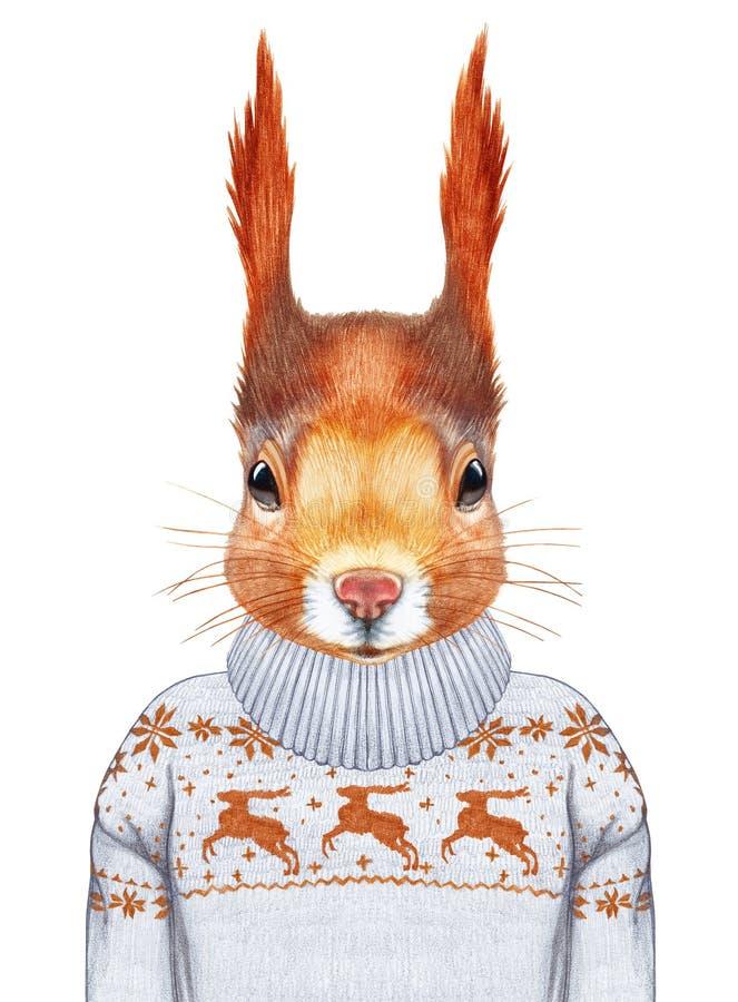 Animales como ser humano Retrato de la ardilla en suéter ilustración del vector