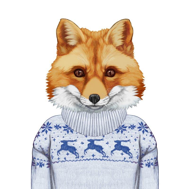 Animales como ser humano Retrato del Fox en suéter ilustración del vector