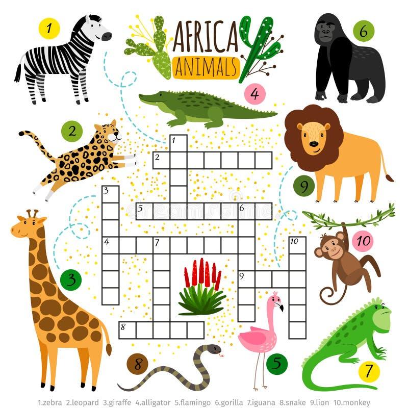 Animales de África del crucigrama Embroma el crucigrama africano para los alumnos, juego del parque zoológico de búsqueda de las  ilustración del vector