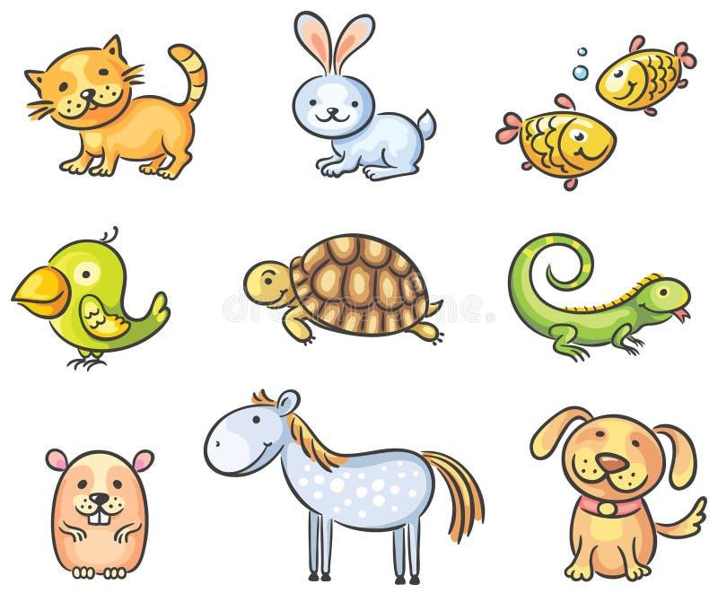 Animales de animal doméstico de la historieta