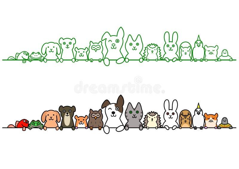 Animales de animal doméstico en fila con el espacio de la copia libre illustration