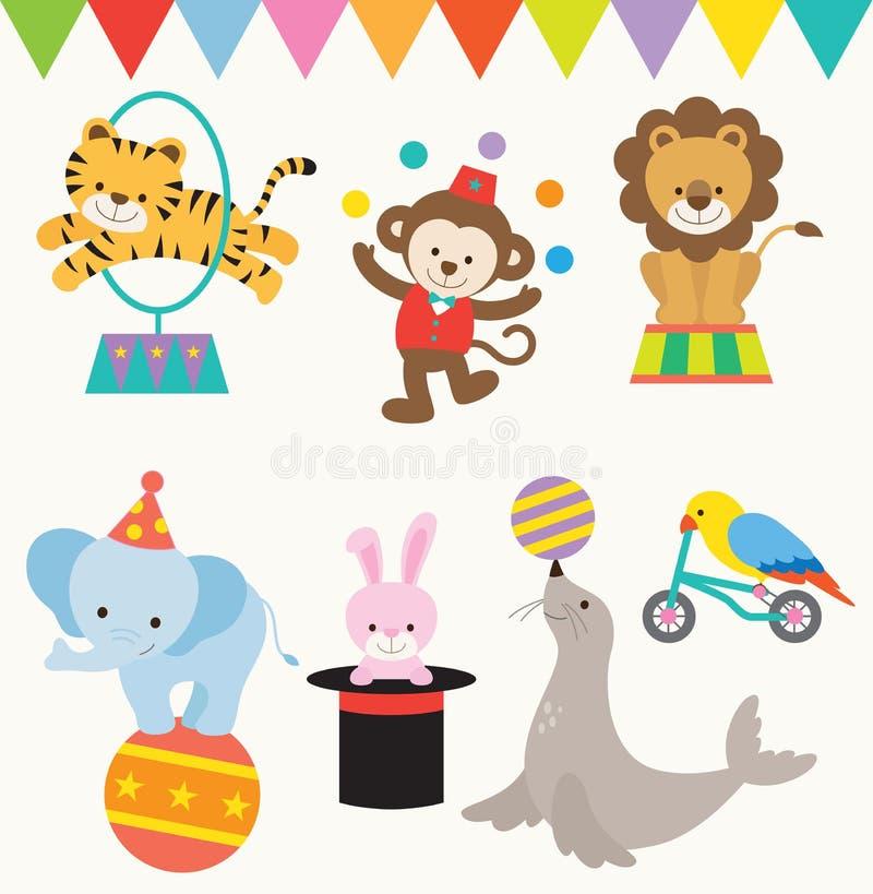 Animales de circo stock de ilustración