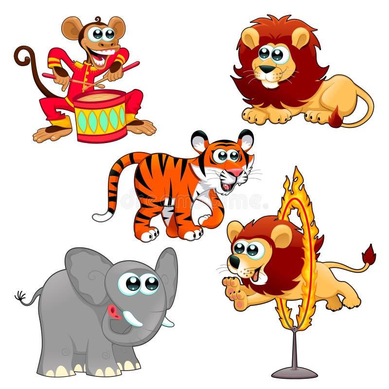 Animales de circo divertidos ilustración del vector