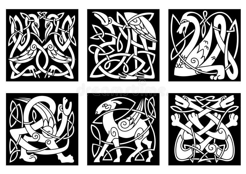 Animales de estilo celta en negro libre illustration