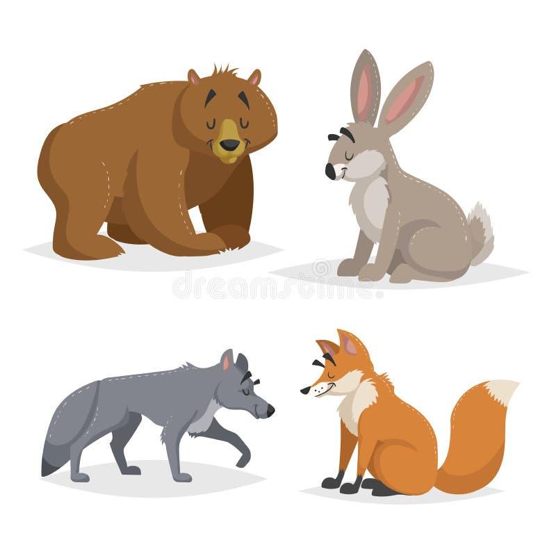Animales de Forest North America y de Europa fijados Lobo, liebres, oso y zorro rojo Sonrisa feliz y caracteres alegres Illus del stock de ilustración