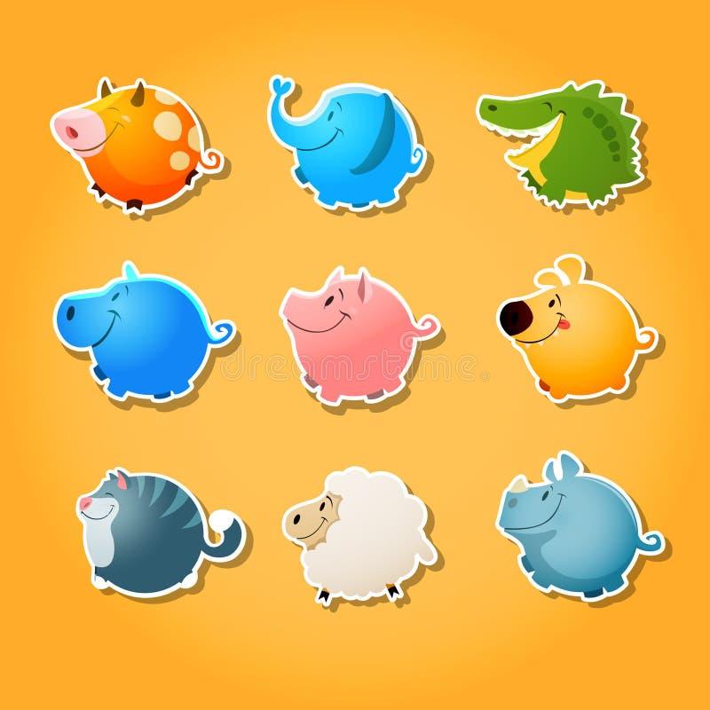 Animales de la burbuja - forma linda del ia de los animales del círculo ilustración del vector