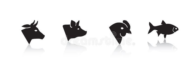 Animales de la carne stock de ilustración