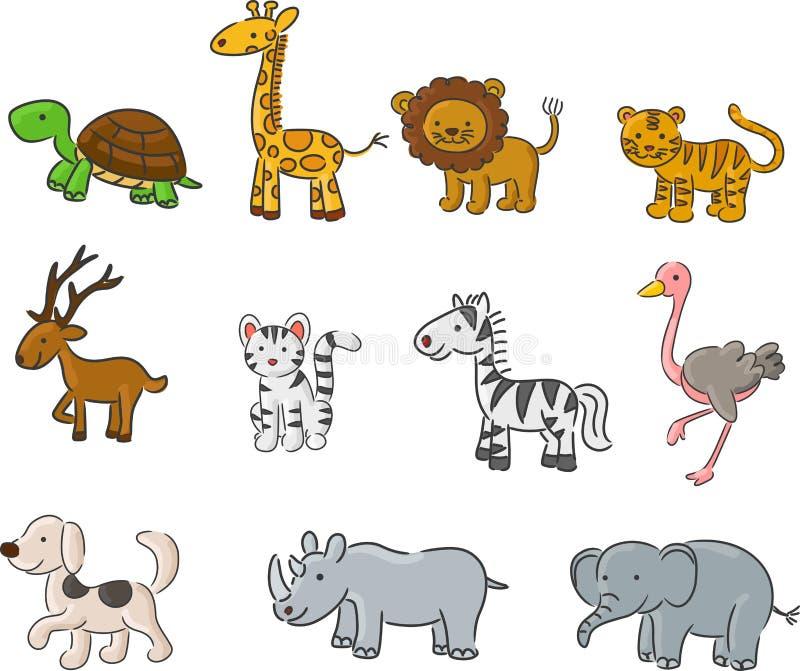 Animales de la colección de la historieta stock de ilustración