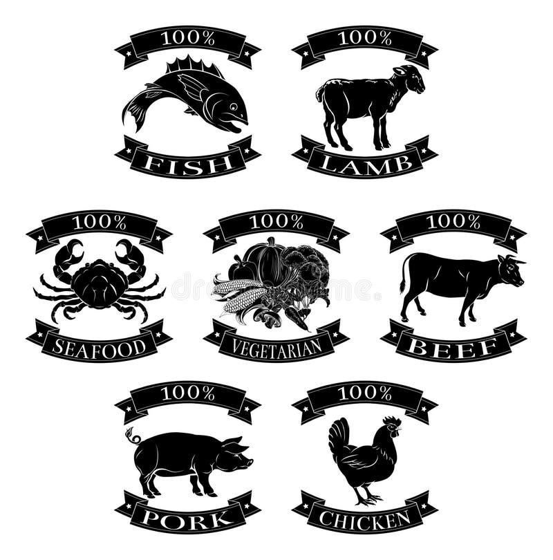 Animales de la comida sistema del 100 por ciento ilustración del vector