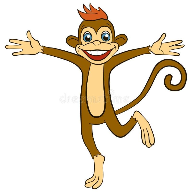 Animales de la historieta para los niños Pequeños funcionamientos lindos y ondas del mono ilustración del vector