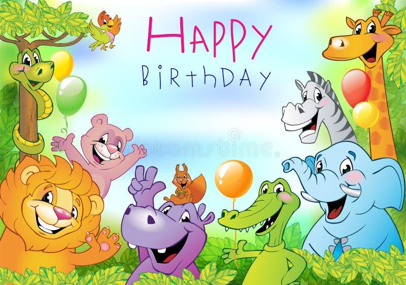 Animales de la historieta, tarjeta de felicitación del cumpleaños ilustración del vector