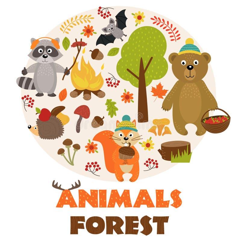 Animales de la parte 1 del bosque libre illustration