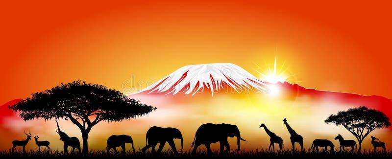 Animales de la sabana en el fondo del monte Kilimanjaro stock de ilustración
