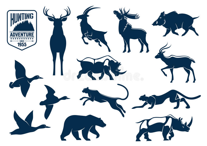 Animales de la sabana y del bosque para cazar iconos stock de ilustración