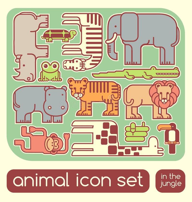 animales de la selva fijados stock de ilustración
