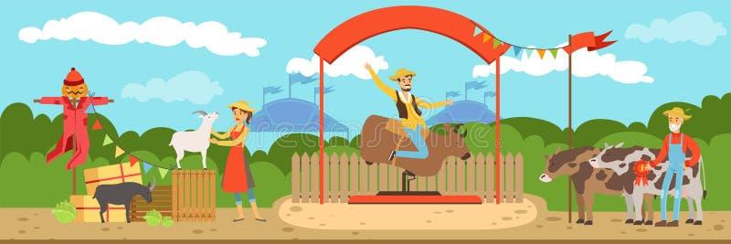 Animales de la venta por agricultores en el mercado de los granjeros en el ejemplo horizontal soleado del vector del día de veran libre illustration