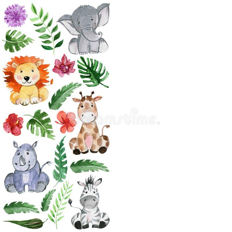 Animales de los amigos de la selva de la acuarela, África, hojas tropicales stock de ilustración