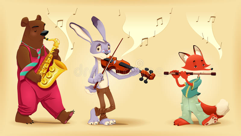 Animales de los músicos. stock de ilustración
