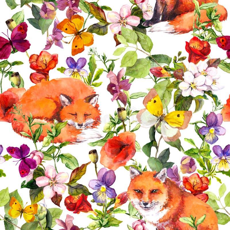 Animales de los zorros, flores del prado del verano y mariposas lindos Ditsy que repite el estampado de flores watercolor ilustración del vector