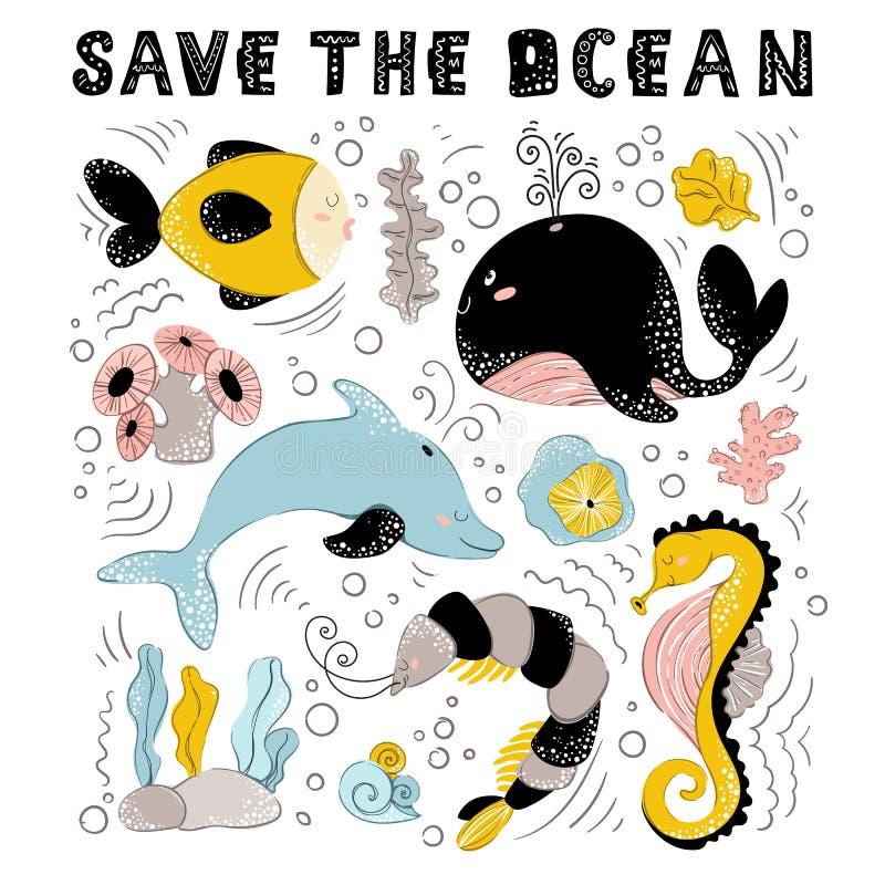 Animales de mar del vector ilustración del vector