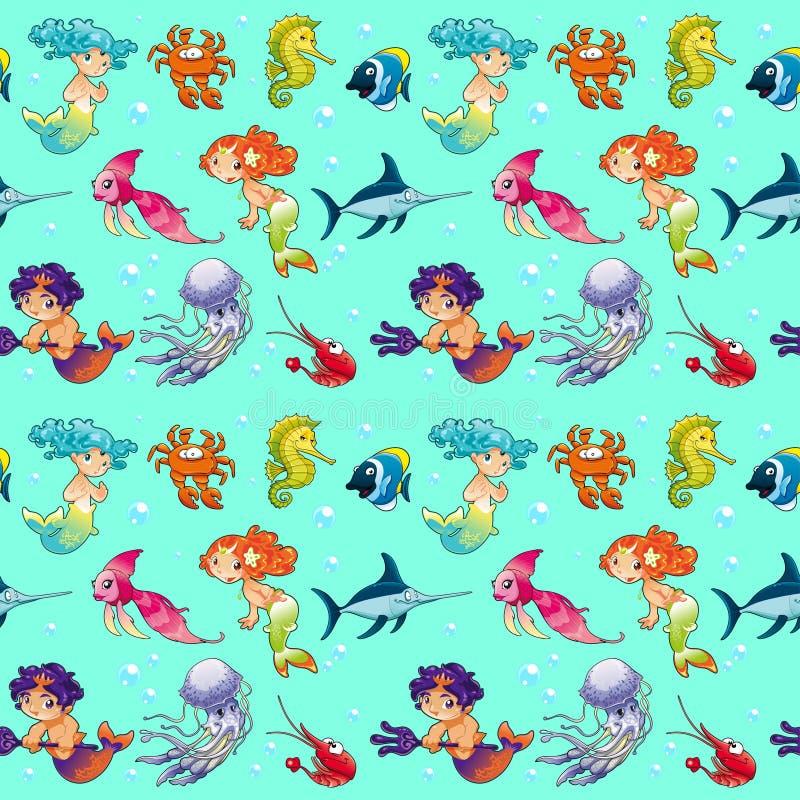 Animales de mar divertidos con las sirenas y el fondo stock de ilustración