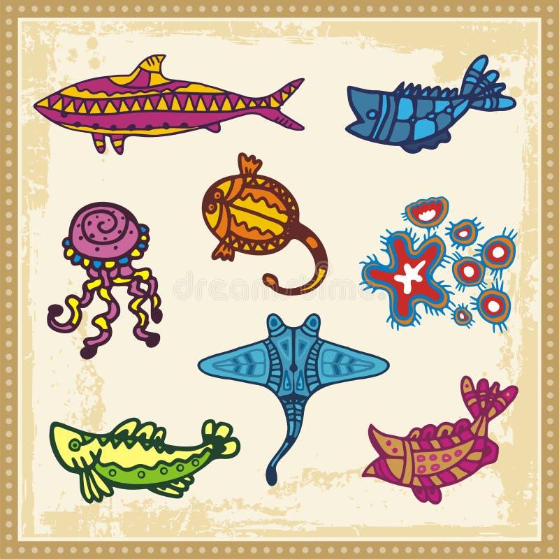 Animales de mar en estilo aborigen australiano stock de ilustración