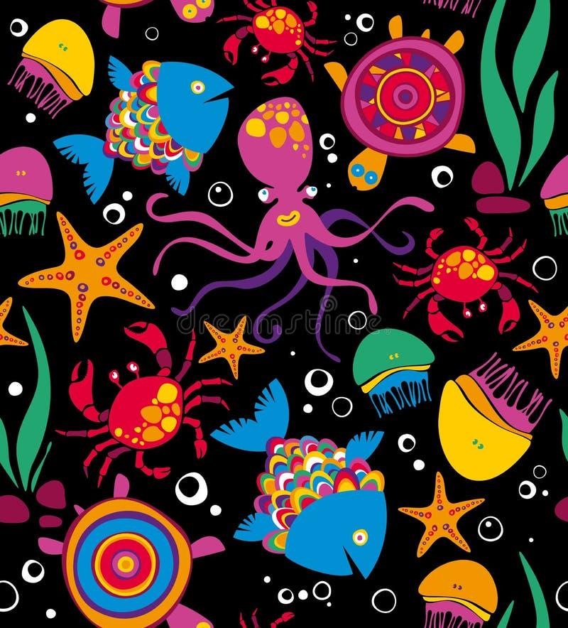 Animales de mar Fondo Naturaleza ilustración del vector