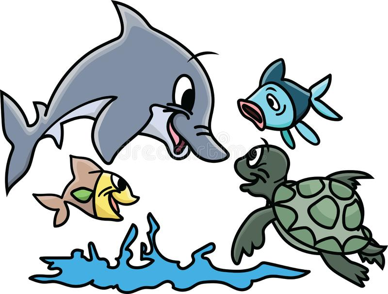 Animales de mar de la historieta que juegan en vector del agua ilustración del vector
