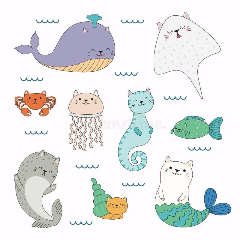 Animales de mar lindos con los oídos de gato ilustración del vector