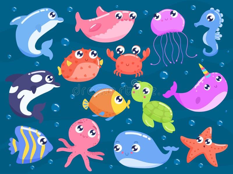 Animales de mar lindos de la historieta ilustración del vector