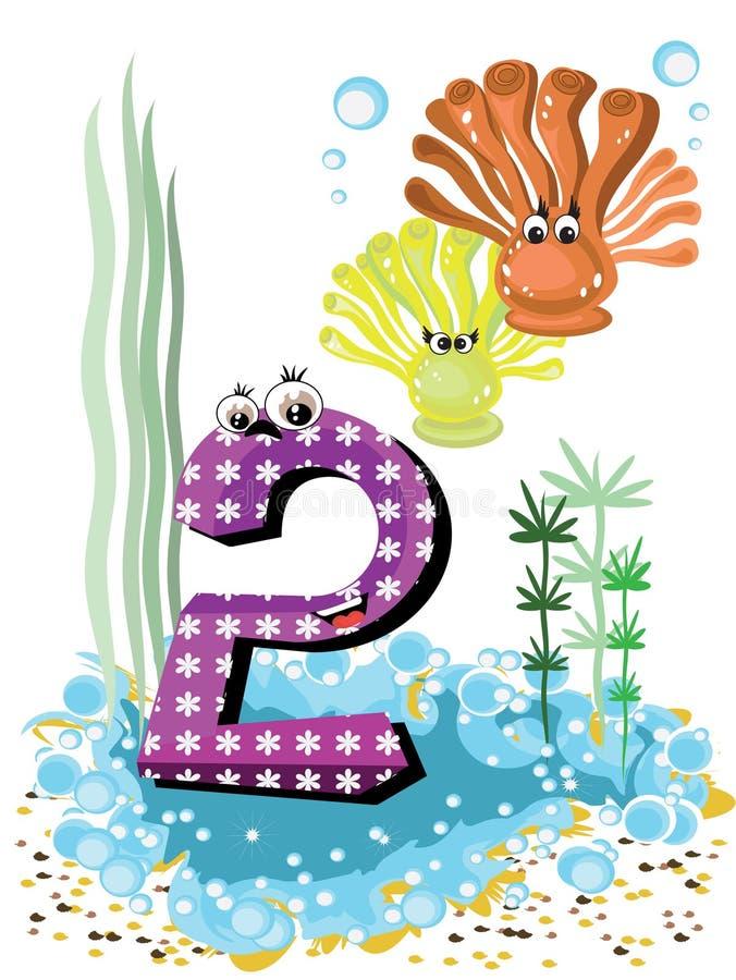 Animales de mar y serie de los números para los cabritos 2 coralls foto de archivo libre de regalías