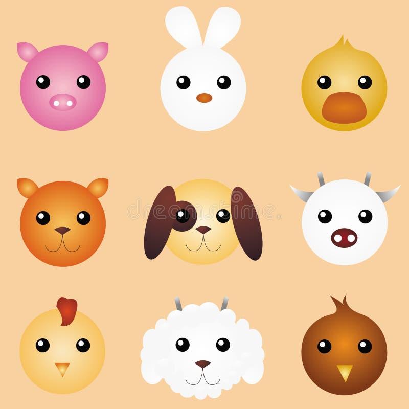 Animales de partido lindos stock de ilustración