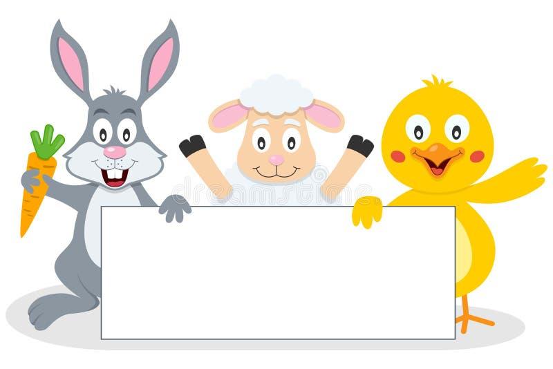 Animales de Pascua con la bandera en blanco ilustración del vector