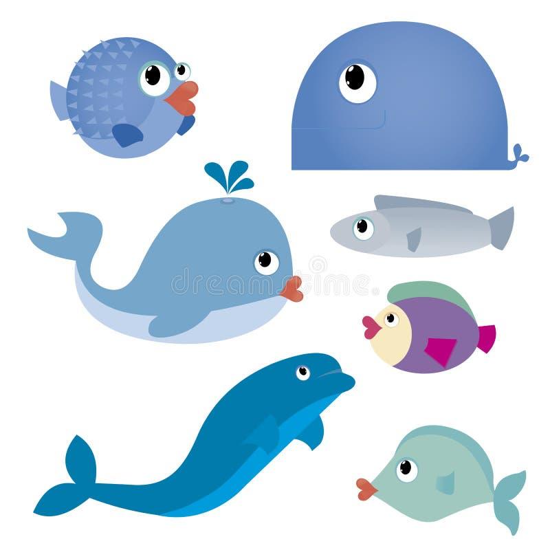 Animales del agua ilustración del vector
