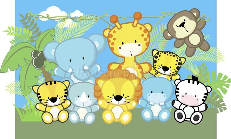 Animales del bebé y plantas de la selva libre illustration