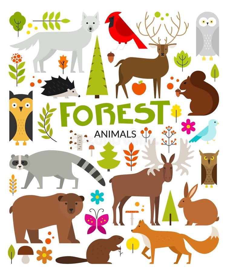 Animales del bosque stock de ilustración