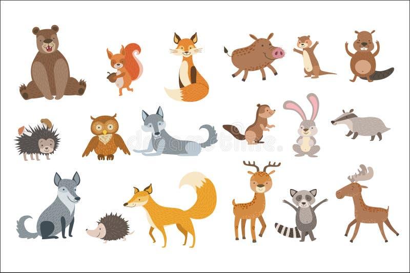 Animales del bosque fijados libre illustration
