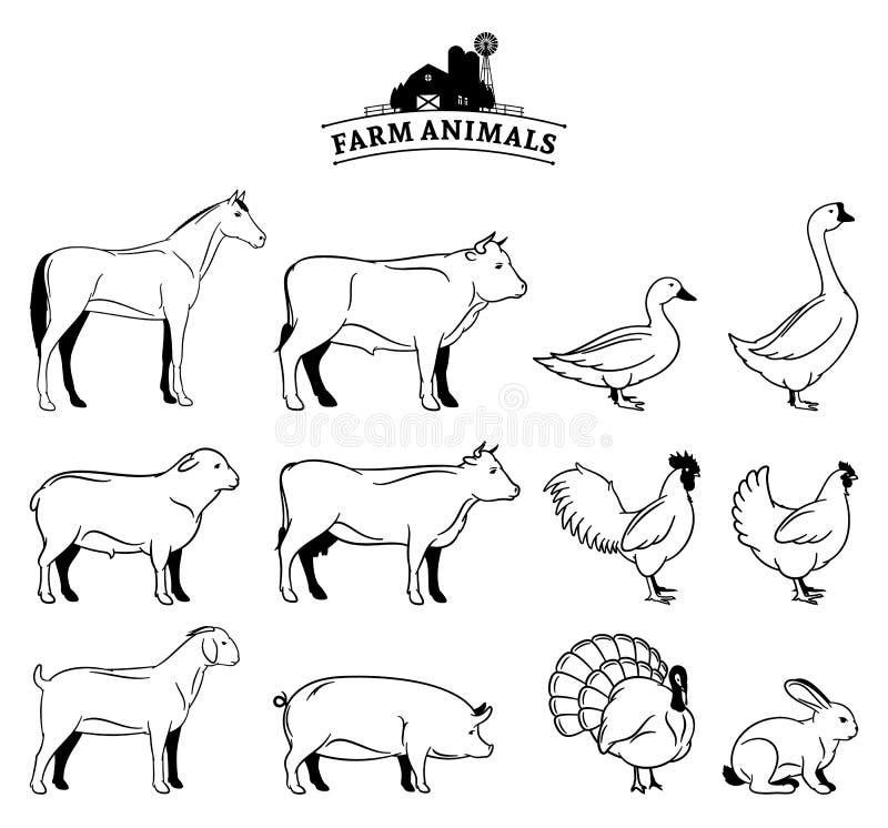 Animales del campo aislados en blanco stock de ilustración