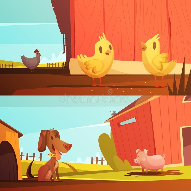Animales del campo 2 banderas horizontales de la historieta libre illustration