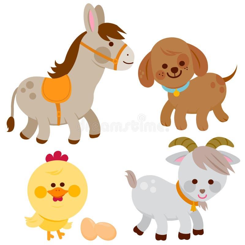 Animales del campo: burro, perro, pollo y cabra stock de ilustración