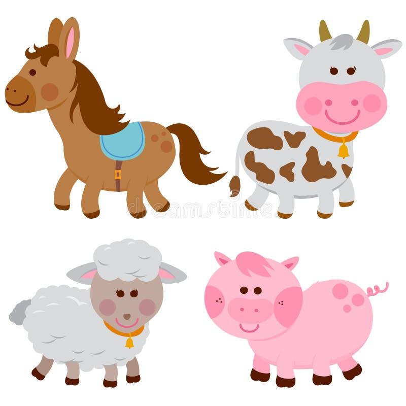 Animales del campo: caballo, vaca, ovejas y cerdo libre illustration