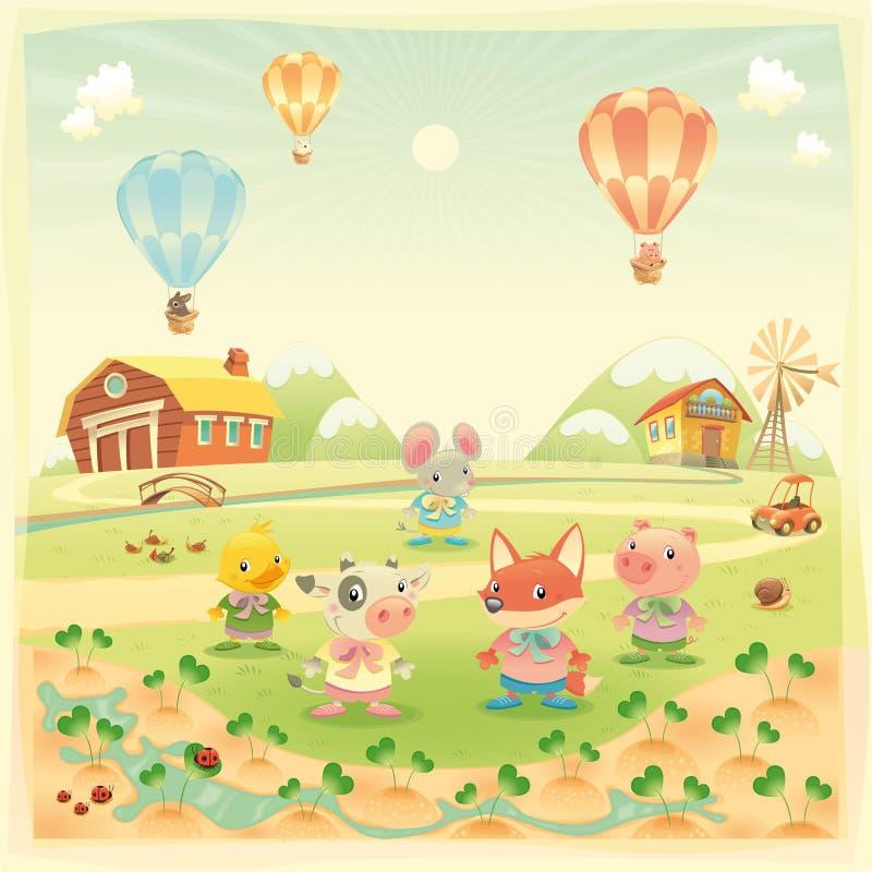 Animales del campo de bebé en el campo. ilustración del vector